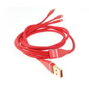 Amio ΚΑΛΩΔΙΟ ΦΟΡΤΙΣΗΣ ΚΑΙ ΜΕΤΑΦΟΡΑΣ ΔΕΔΟΜΕΝΩΝ USB ΣΕ APPLE LIGHTNING - MICRO USB - USB TYPE C 120cm 3.1A AMiO - 1 ΤΕΜ.