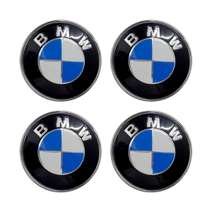 Americat BMW ΚΟΥΜΠΩΤΕΣ ΚΑΜΠΥΛΩΤΕΣ ΤΑΠΕΣ ΚΕΝΤΡΟΥ ΖΑΝΤΑΣ ΜΑΥΡΟ/ΜΠΛΕ/ΧΡΩΜΙΟ (ΕΣΩΤΕΡ. 64 mm & ΕΞΩΤΕΡ. 69 mm) - 4 ΤΕΜ.